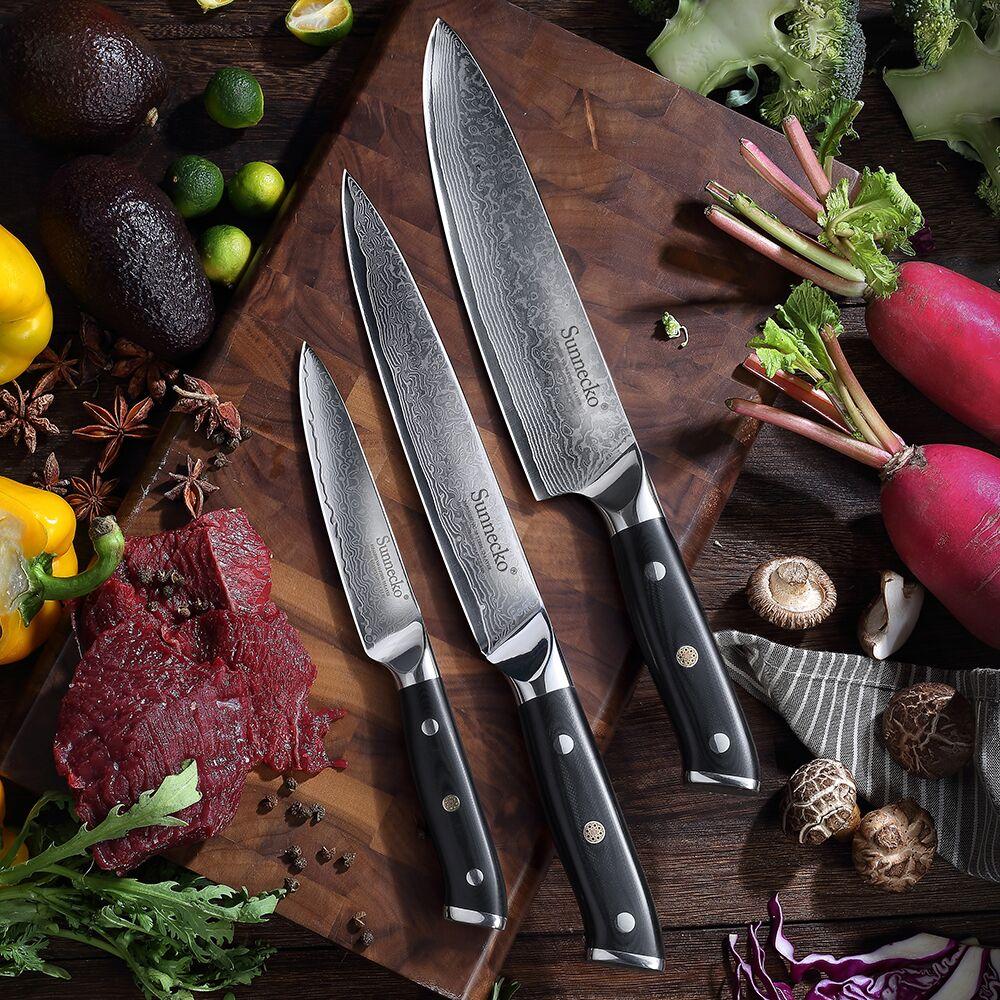 SUNNECKO 3PCS Kitchen Knife Set Japanese VG10 Damascus Steel Slicer Chef  Utility Kinfe Cooking Knife G10 Handle Christmas Gift