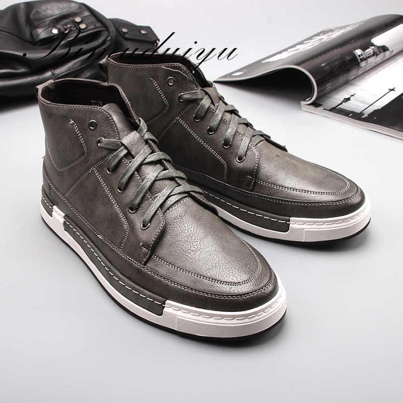 BIMUDUIYU sonbahar yeni yüksek top erkek yarım çizmeler moda kravat rahat kaymaz su geçirmez kar botları mikrofiber deri retro ayakkabı