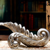 Vintage Silver Leaf Wine Rack Sculptures Home Decoration Accessories Handmade Resin Wine Holder Ornament For Living Room Decor