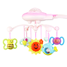 Baby Rattles Toy 0-12 Months Crib Mobile Musical Bed Bell With Sky Stars Rattles Projection Cartoon Early Learning Kids Toys