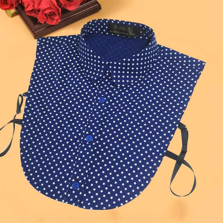 ลายผู้หญิง Fake Collar ถอดออกได้เสื้อ 2019 Dot พิมพ์สุภาพสตรีปลอมปลอกคอผู้หญิงตกแต่งเสื้อ Denim Denim