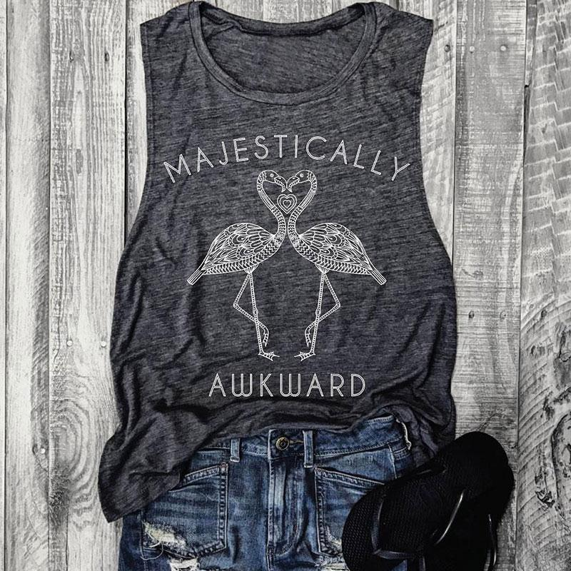 Hot Women   Tanks   O-Neck Majestically Awkward Flamingo Printed   Tank   Casual Sleeveless   Tops   Summer Female Casual Ladies   Tops     Tank