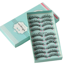 10 Boxes/100 Pairs Long Natural Soft Imported Silk Protein Fiber False Eyelashes Thick Cross Eye Lash Extension Makeup