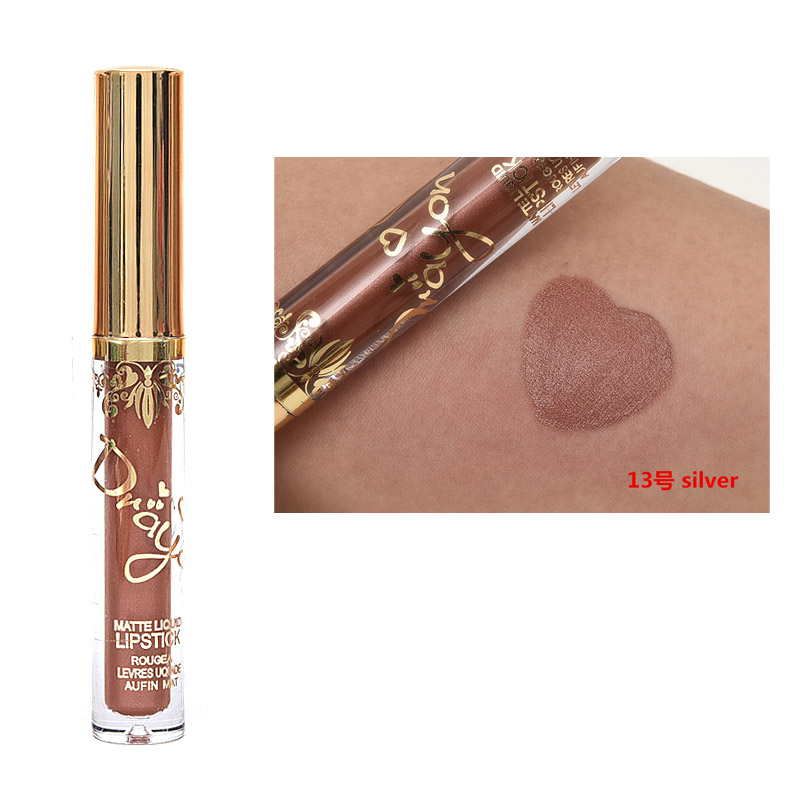 New Brand Makeup Liquid Lipstick Professional Waterproof Matte Lipstick Beauty Essentials Golden Nude Brown Batom Cosmetics