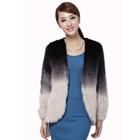 New mink fur coat women's long sleeve top fashion all match Mink knit jacket mink knitted fur coat Free shipping