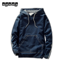 Hoodies Harajuku Fashion Denim Jeans Pullovers Hoodie Men Sweatshirts Big Pocket Soft Cloth Denim jacket men New High Quality