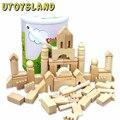 UTOYSLAND 65 Pcs Natural De Madeira Da Floresta Velha Bloqueios de Construção do Castelo das Crianças DIY Educacional Brinquedo Como Presente de Natal de Ano Novo