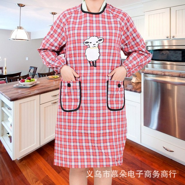 US $14 7 |Factory direct new Korean cotton plaid long sleeved adult sheep  anti fouling dirt aprons wholesale clothing-in Aprons from Home & Garden on