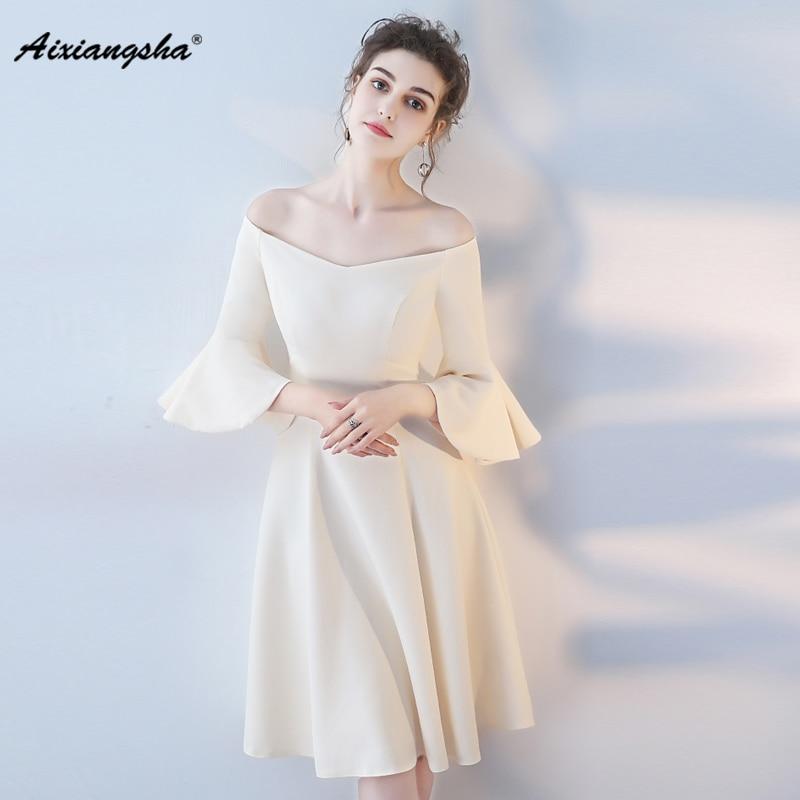 2018 Evening Dress Elegent Barato Vestido De Festa V-Neck Cheap Half Sleevss Tea-Length Abendkleider 2018 robe de soiree longue