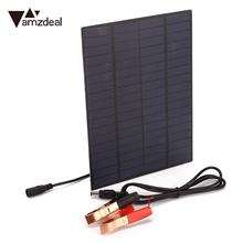 amzdeal Portable 5W DC 18V Polycrystalline Silicon Solar Panel Cell with DC5521 Battery Clip Outdoor Charging Solar Cell