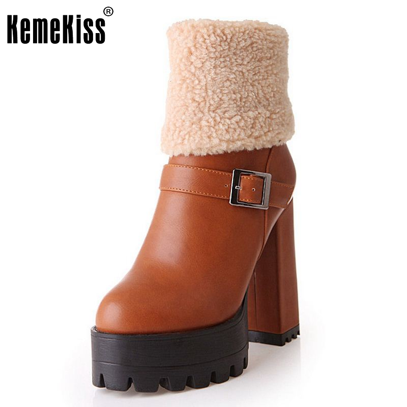 Women Water Proof Boots Half Short Boot Cotton Winter Snow Botas Fashion Square Heels Footwear Plush Shoes Size 31-43