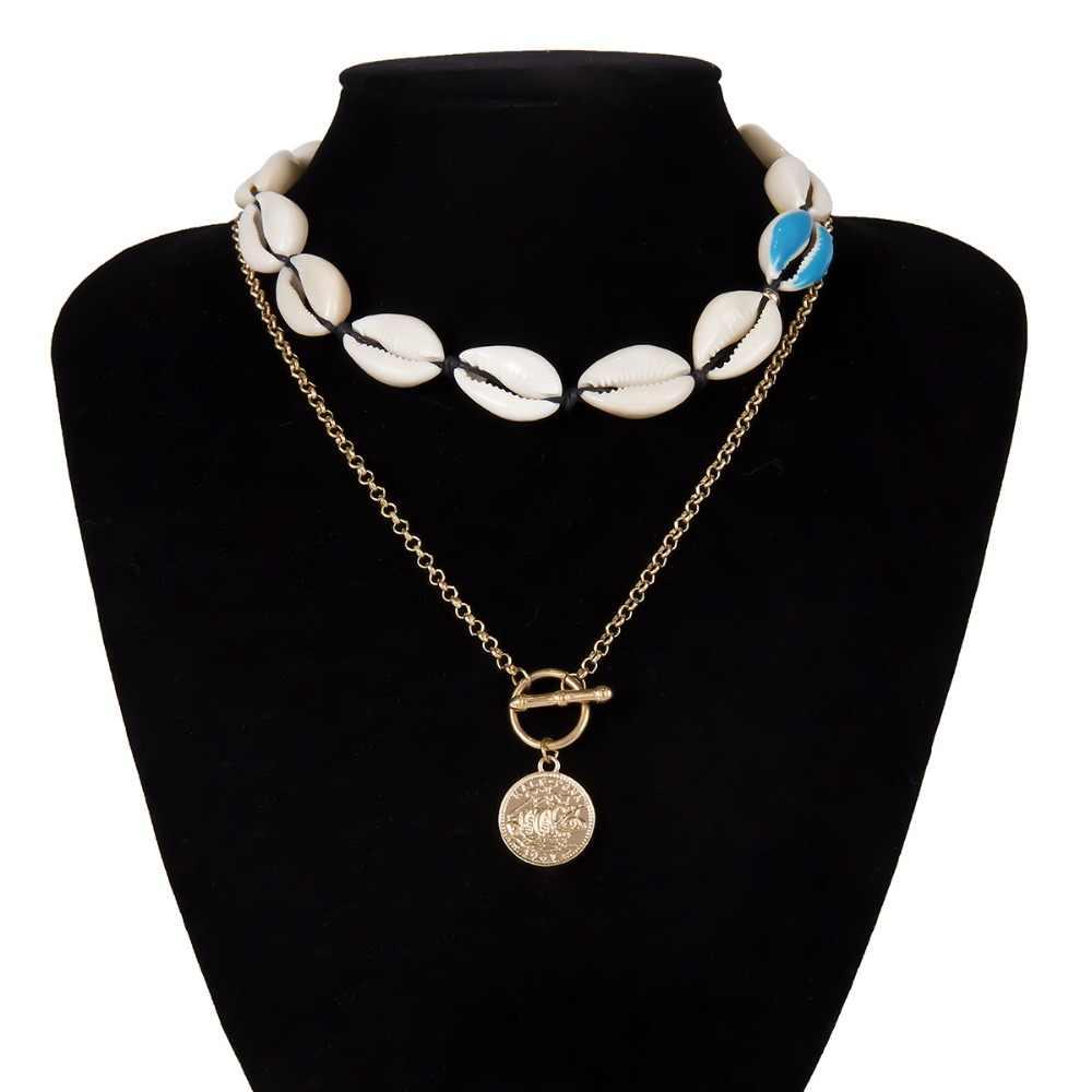 DIEZI Bohemian Ethnic Shell New Jewelry Sets Bracelet Necklace For Women Handmade Rope Chain Adjustable Boho 2019 Jewelry Gifts