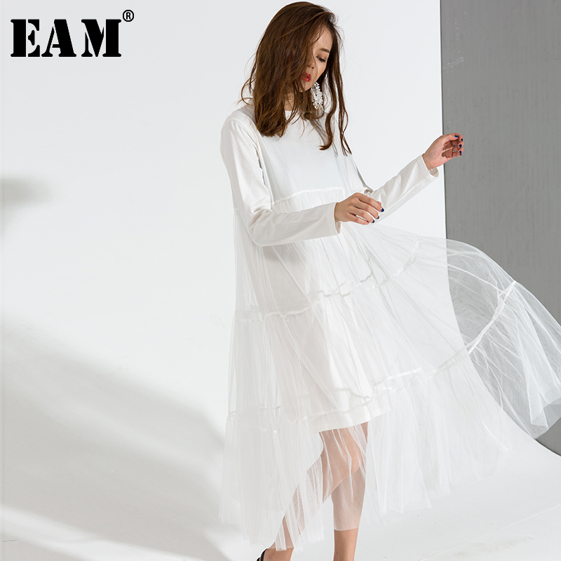 [EAM] 2019 Hot New Spring  Round Neck Long Sleeve Solid Color White Gauze Stitching Hem Loose Dress Women Fashion Tide AS336