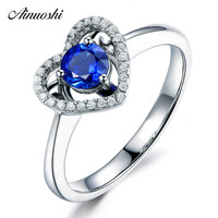 AINUOSHI 0.47 Carat Round Cut Blue Sona Halo Bridal Rings 925 Sterling Silver Heart Shape Rings Women Wedding Girls Jewelry Gift