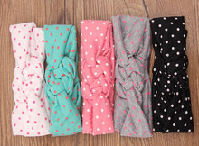 5pcs Girls Bow-Knot Headbands Newborn Cotton hair Elastic Bands Kids Hair Accessories Girls head Wrap T146(China)