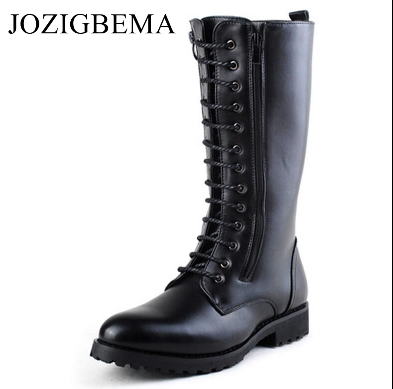 JOZIGBEMA Men Long Boots Fashion Winter High Mid Calf Motorcycle Combat Boot Winter Man Zip Riding Army Keep Warm Add Wool Boots