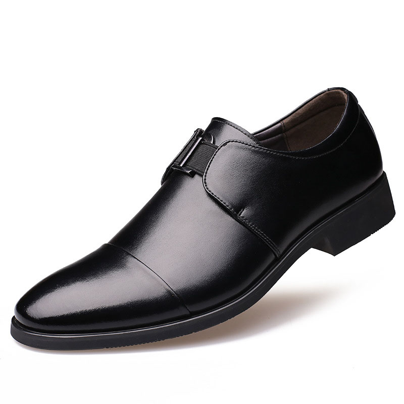 Black leather dress loafers