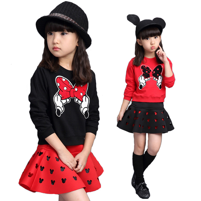 Girls Sport Suit Girls Minnie Clothing 2016 Spring Autumn 2pcs Long Sleeve Sweater+ Skirt Suits Kids Cotton Clothes Set 3-9Years fashion slim girls clothing sets long sleeve plaid sweater two piece skirt suits cotton kids wear vetement fille split hem