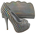1308-L33 NEW ARRIVAL!!lady Italian shoes with matching bags elegant italyshoes and matching bags in Silver.