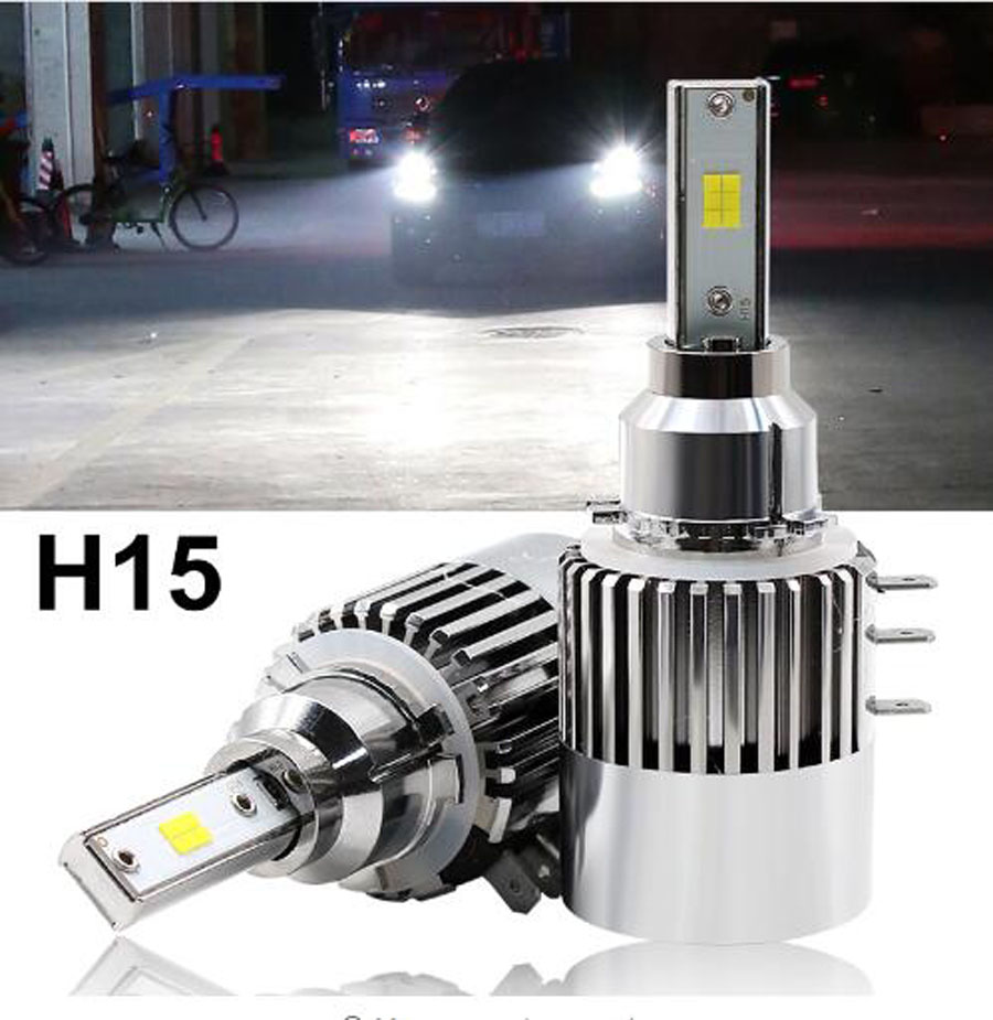 1 Set H15 Hi Low Dual Beam CSP CHIPS LED Headlight CANBUS Error Free Turbo Fan