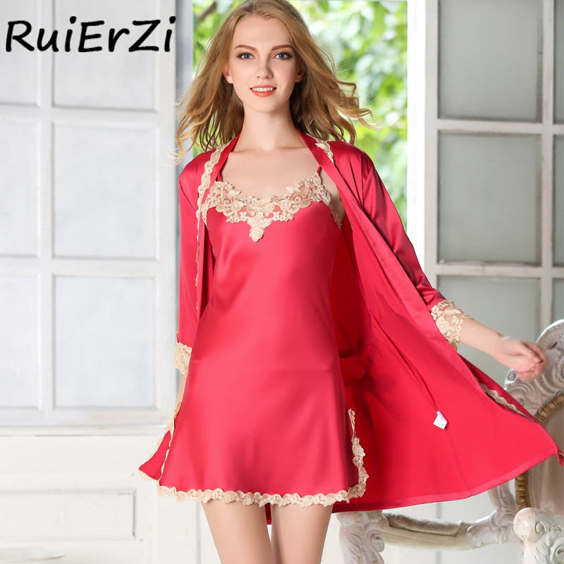 Fashion Silk Robe & Gowns Set Summer Lace-up Print Bowknot Belt Lace 2018 Casual Two Piece Suspender Sleepwear + Bathing Robe