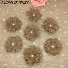 Natural Jute Burlap Hessian flower Handmade Pearl Vintage Wedding Decoration Floristey Wreath Arts Craft New Year decoration