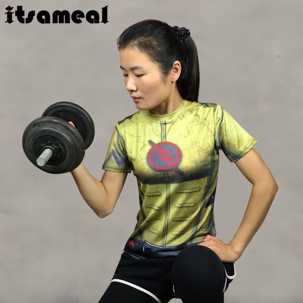 Compression Shirt Reverse Flash 3D Printed T Shirt Women Ladies Raglan Short Sleeve Cosplay Costume Fitness Tops Female Clothes