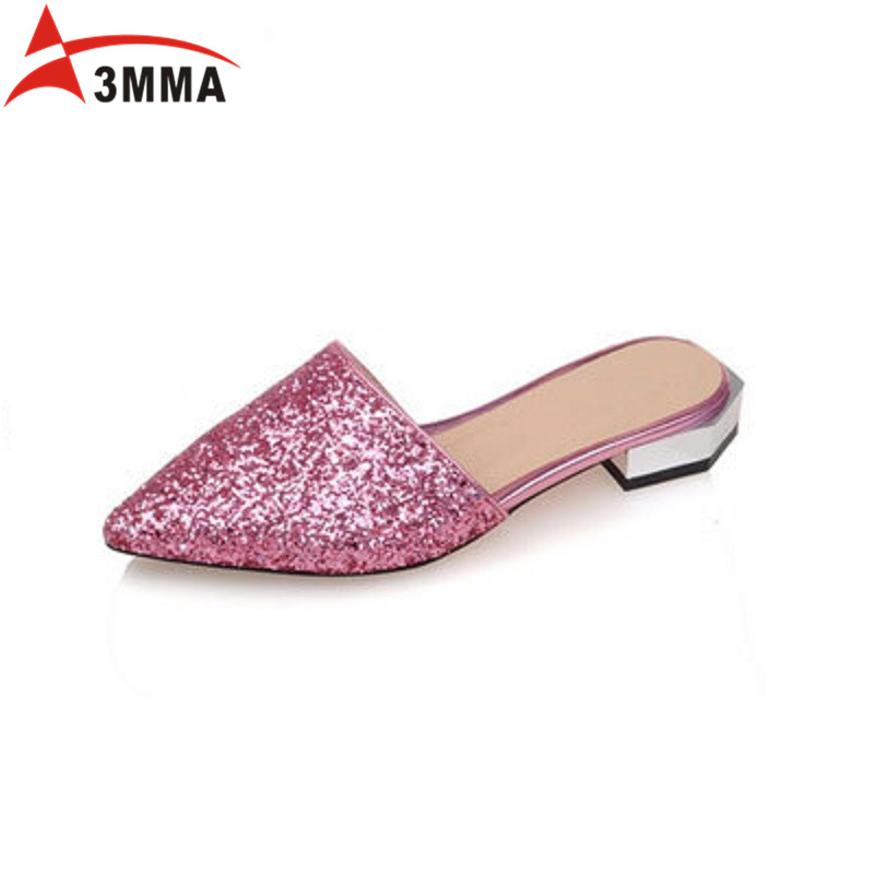 3MMA Gold Silver Glitter Pointed Toe Flats Woman Casual Sandals Summer Wedding Spring Shoes Party Slip on Shoes Big Size 34-43 spring summer women flat ol party shoes pointed toe slip on flats ladies loafer shoes comfortable single casual flats size 34 41