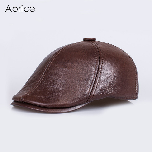 HL110 hombres gorra de béisbol sombrero de los hombres de cuero genuino cuero real de la piel sólido adulto sombreros ajustables caps con 3 colores