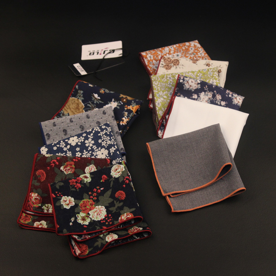 New Korean Fashion Designer High Quality Mens Pocket Squares Handkerchiefs Print Flower Cotton 24x24cm 10pcs/lot