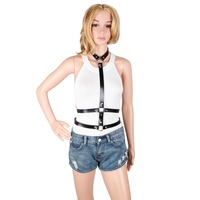 Sexy Women Harness Punk Rock Street Strap Body Harness Cool Collar Around Neck Adjustable Buckles Cosplay