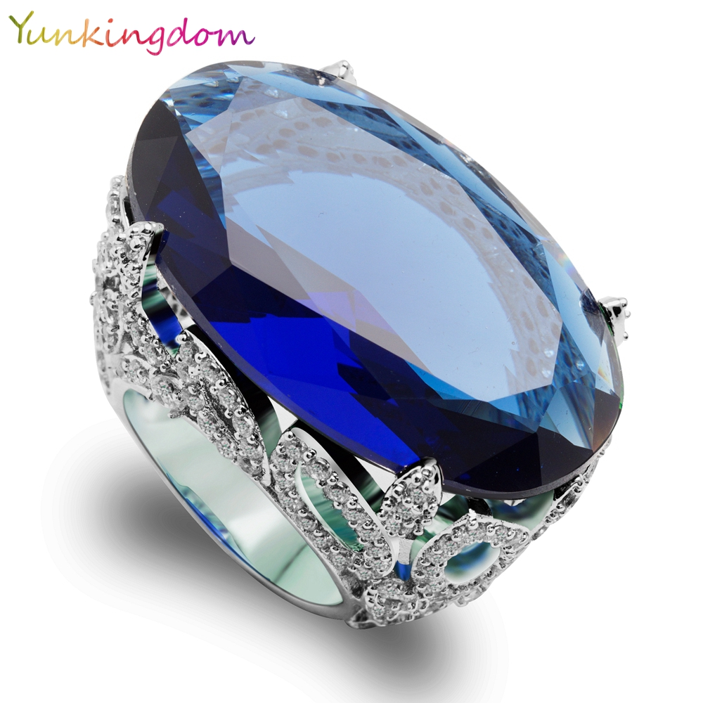 Yunkingdom Luxury Big Oval Blue Cubic Zirconia Wedding Fine Rings Banquet Party Queen Jewelry