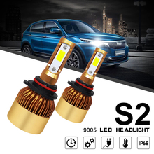2pcs LED Mini Car Auto Headlight Bulbs 9005 HB3 H10 S2 72W 8000LM 6000K White Light Hi or Lo Beam Head Lamp for Car Vehicles 110w set 9200lm car led headlight truck head lamp conversion kit 9005 hb3 6000k white bulbs single beam replace halogen hid kit