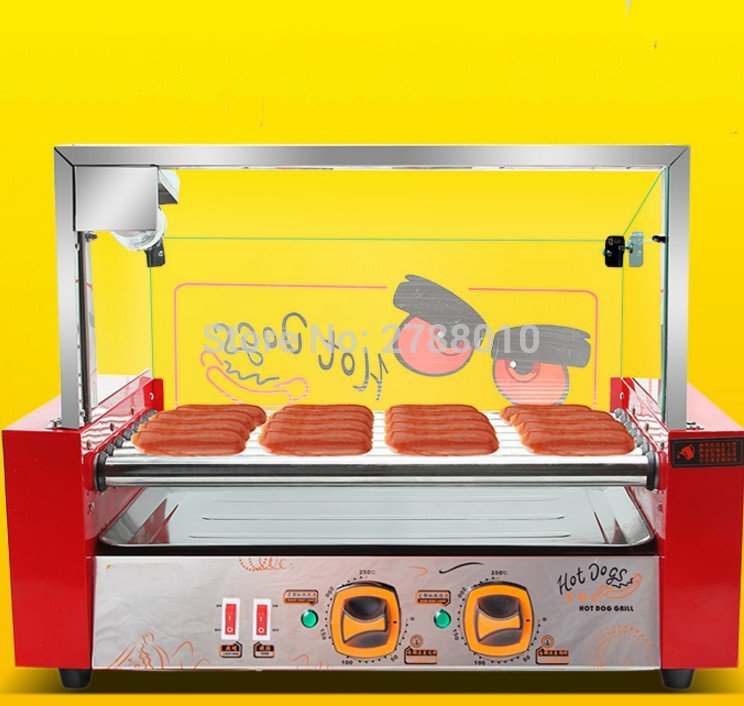Electric Sausage Roasting Machine Automatic Hot Dog Baking Machine Commercial Sausage Roaster Small Size Wust Warmer WY-007 new led arcade game diy parts 2 x 5pin 5v 2 4 8 way led illuminated joystick 16 x led illuminated push button for mame game