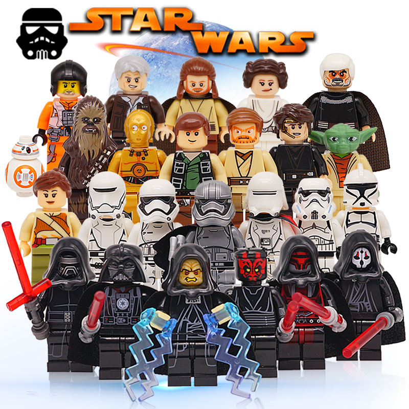 Star Wars Force Awakens Building Blocks lEGOED Starwars Han Solo Anakin Skywalker Yoda Darth Obi-Wan Toys for Kids Action Figure star wars figures jedi chewbacca han solo darth vader leia legoing jango fett obi wan models & building toys blocks for children