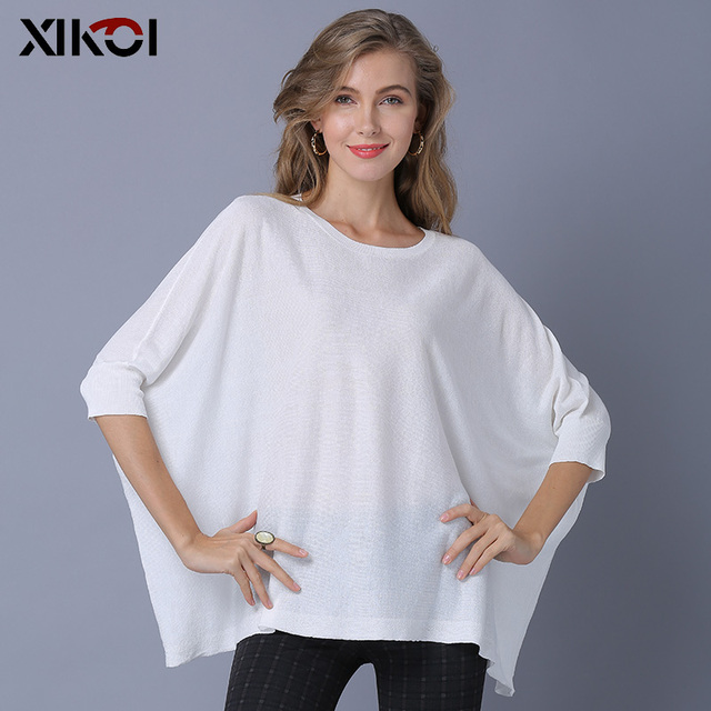 XIKOI Fashion Women Knitted Sweaters Oversize Casual Short Pullover Loose Shirt Sweater Solid Half Batwing Sleeve Pullovers 2
