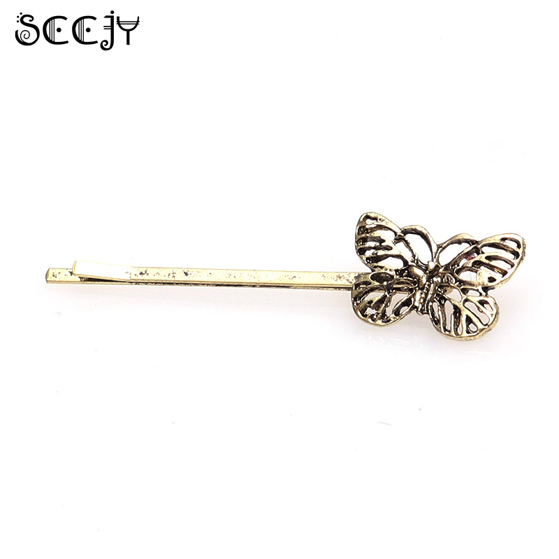 1pc SCCJY Antique Retro Metal Bronze Corlor Butterfly Hair Clip Hair Accessories A5R23