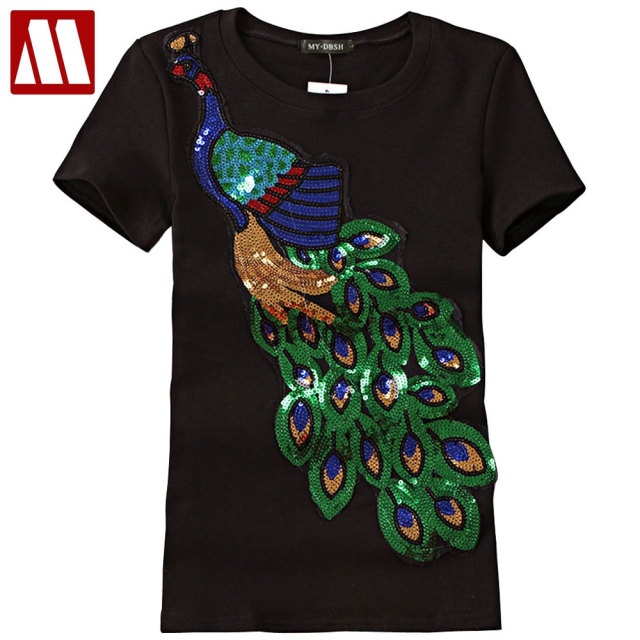 2018 Noble Elegant T shirt Women Peacock Sequined Sequins T-shirt Womens Fashion New Top Tee Shirt Femmer Lady Sakura Clothes