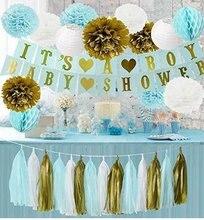 1 Set Gold Blue White Tissue Paper Pom Poms Lantern Honeycomb Ball Its A Boy Banner Baby Shower Decoration Pregnancy Photo Prop