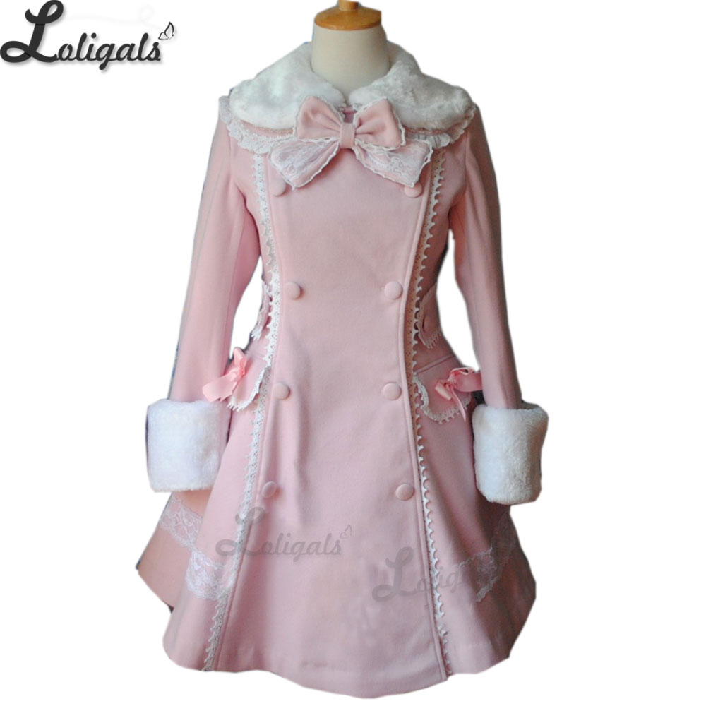 Sweet Women's Long Winter Coat Girl's Pink Lolita Winter Coat Plus Size Custom Tailored