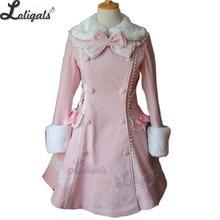 Милое женское длинное зимнее пальто для девочек, розовое зимнее пальто Лолиты размера плюс на заказ