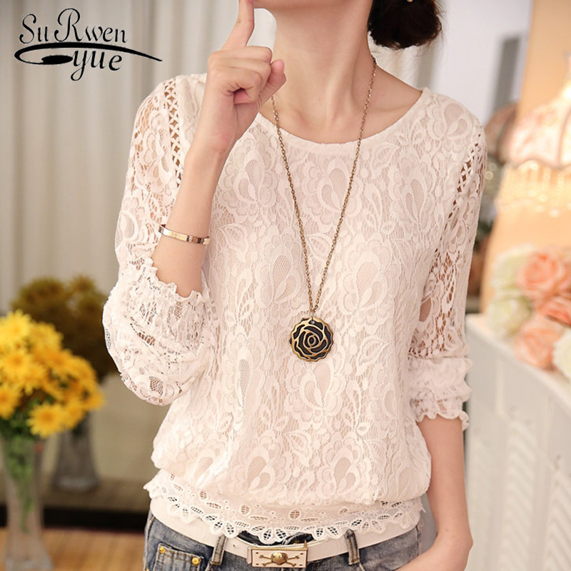 2018 fashion White lace   blouse   women   shirt   Long Sleeve hollow lace women   shirts   Chiffon   blouses   Women's clothing Blusas 51C 30