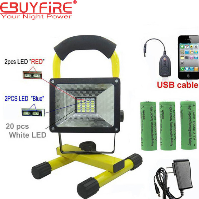 18650 Rechargeable Floodlight 30w 24 Led Flood Light Waterproof Outdoor Lights With Charger By Battery