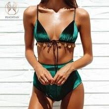 Peachtan бархатное бикини 2019 зеленый купальники для малышек для женщин Высокая талия Купальник женский строка ванный Комплект Одежда заплыва сексуальное