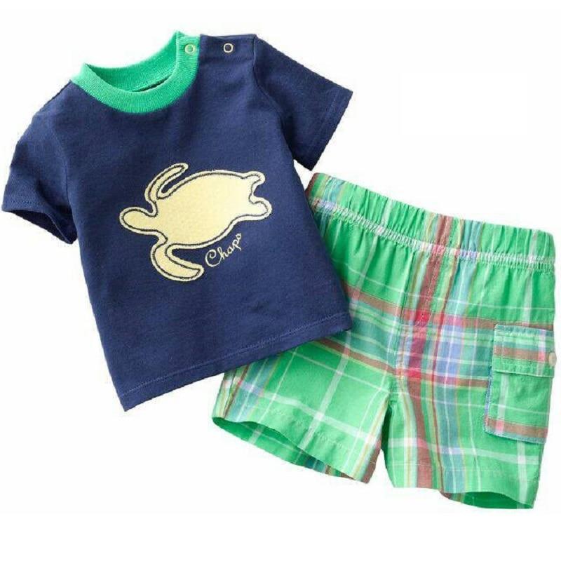 2021 Baby Boy Clothes Suits Summer Children T-Shirts Shorts Pant 2-Piece Clothing Set Beach Kids Outfits Sport Suit 2 3 4 5 6 7Y 2