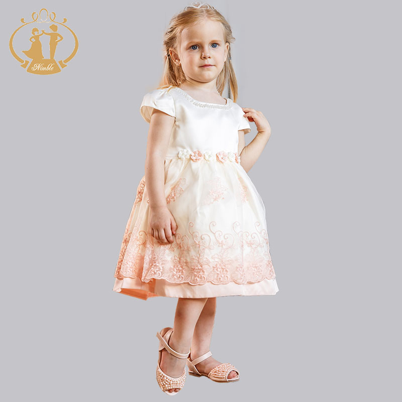 Nimble New Lace Embroidery Pearls Collar Baby Girls Dress Princess Girls Dress for Wedding Party Birthday Vestidos nimble dresses for girls lace appliques princess party cloth