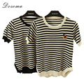 dosoma Women summer Knitting Sweater cartoon t-shirt Elasticity Basic Wear mini short slim Suitable Elegant Ladies stripe Tops