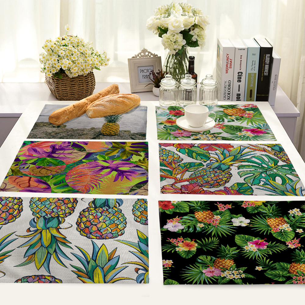 pineapple Pattern Table Mat Fruit Table Napkin Placemat Kitchen Decoration Dining Accessories 42x32cm MP0048