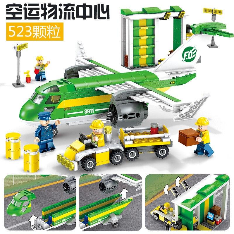 523pcs Children s building blocks toy Compatible city Air freight logistics center figures Bricks birthday gifts