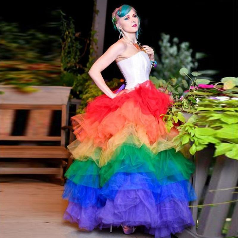 特別なデザインされカラフルなレイヤードシフォンロングチュールスカートフリルティアード女性チュチュスカート弾性段 Faldas サイアカスタム任意のサイズ  グループ上の レディース衣服 からの スカート の中 1